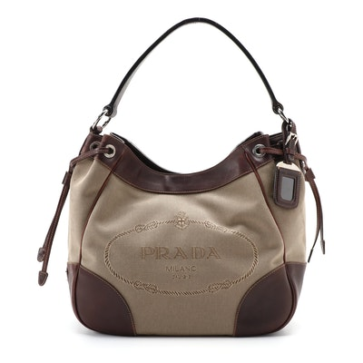 Prada Shoulder Bag in Canapa Canvas with Dark Brown Leather Trim