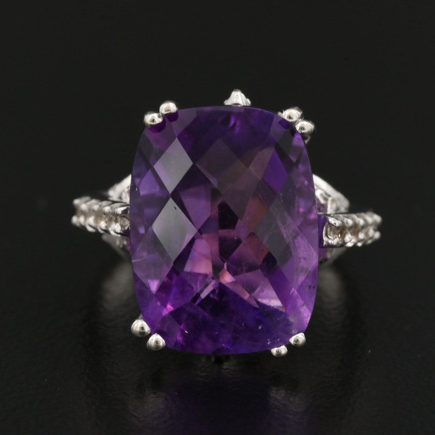 Sterling Silver Amethyst Ring with Topaz Accents