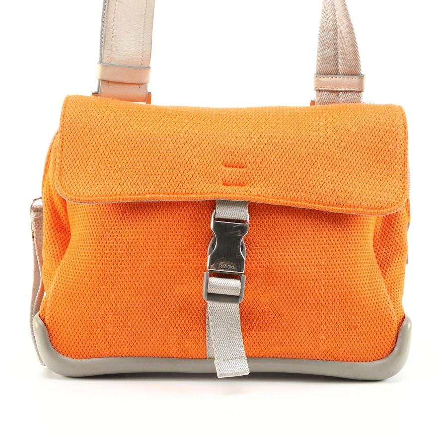 Prada Sport Orange/Gray Front Flap Shoulder Bag