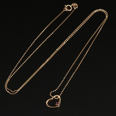 14K Ruby Heart Pendant on Bead and Box Chain Necklace