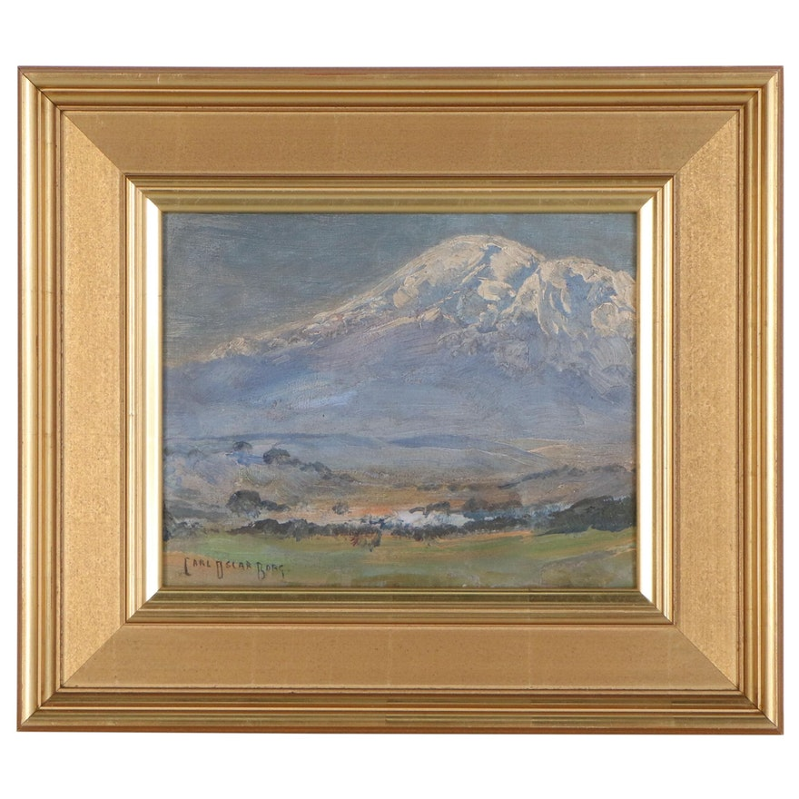 Carl Oscar Borg Landscape Oil Painting of Mountain Scene