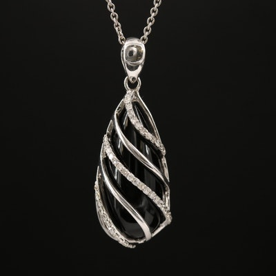 Sterling Silver Caged Glass and Diamond Pendant Necklace