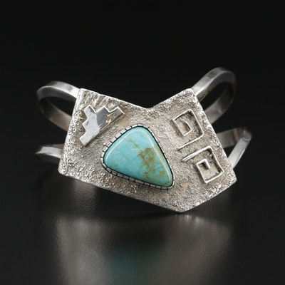 Western Sterling Silver Turquoise Cuff Bracelet
