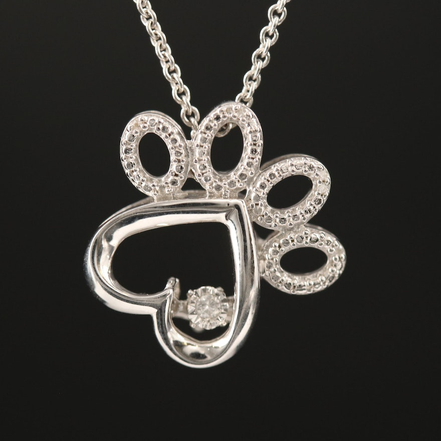 Sterling Silver Diamond Paw Print Pendant Necklace