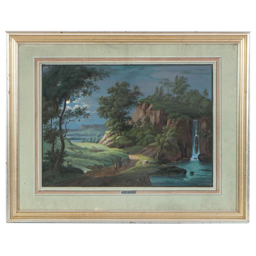 """R. Ferro Watercolor and Gouache Painting """"La Nuit"""", 1844"""