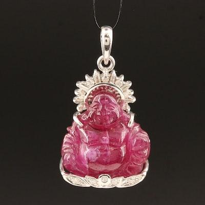10K Carved Corundum and Diamond Budai Pendant