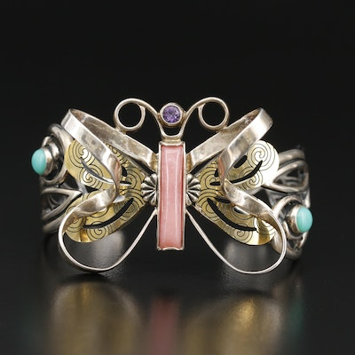Carolyn Pollack for Relios Sterling and Brass Openwork Butterfly Cuff