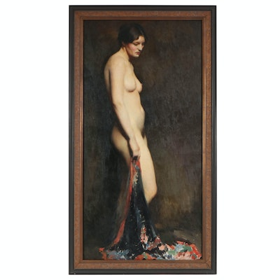 "Richard B. Coe Oil Painting ""Nude with Brocade Cape"", Mid-20th Century"
