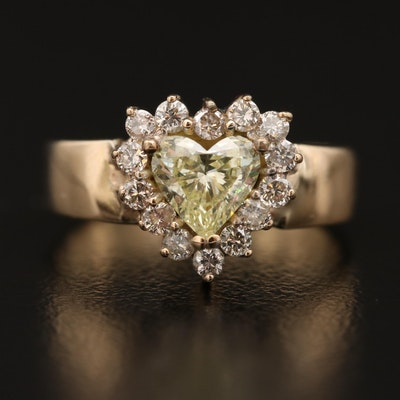 14K 1.03 CTW Diamond Heart Motif Ring