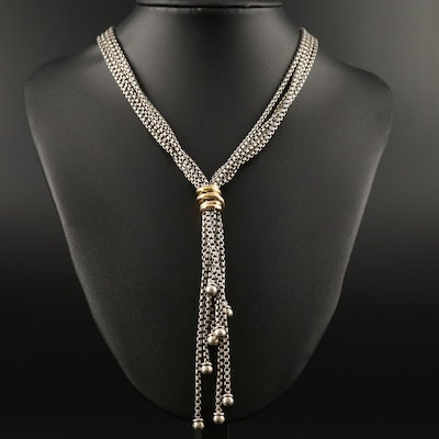 Alisa Sterling Lariat Necklace with 18K Accents