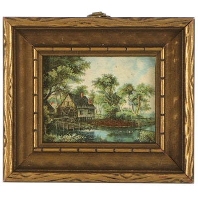 Miniature Watermill Landscape Chromolithograph, Mid-20th Century
