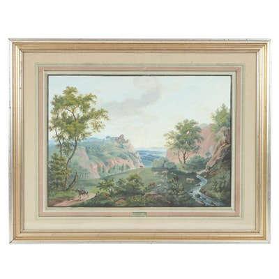 "R. Ferro Watercolor and Gouache Painting ""Le Midi"", 1843"