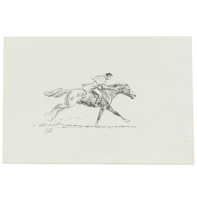 Sam Savitt Horse Racing Ink Drawing and Forms Featuring Image