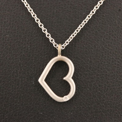 14K Open Heart Necklace with Diamond Accent