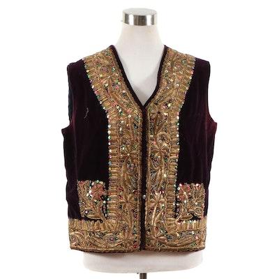 Turkish Handmade Metallic Embroidered, Bead and Sequin Embellished Velvet Vest
