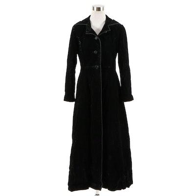 Black Velvet Hooded Full-Length Evening Coat, Vintage