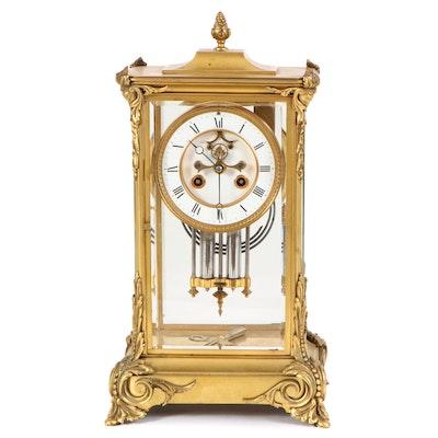 French Gilt Metal Crystal Regulator Mantel Clock, Late 19th Century