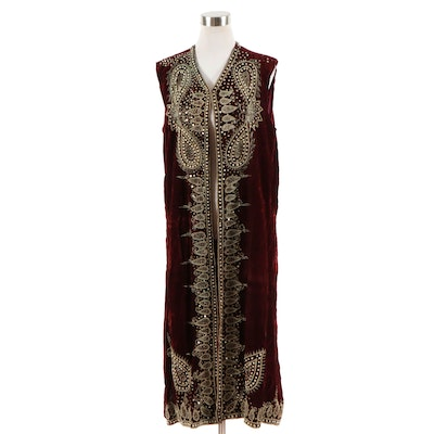 Embroidered and Beaded Red Velvet Tunic Vest
