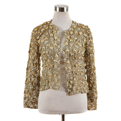 Embroidered and Embellished Net Open Front Jacket in Scrolling Foliates, Vintage