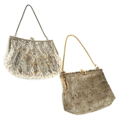 Beaded and Embellished Metal Frame Evening Bags, Vintage