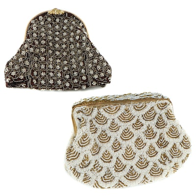 Beaded Metal Frame Clutch Evening Bags, Mid-20th Century