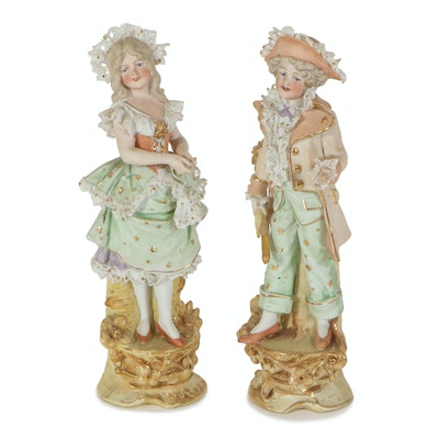 Victorian German Bisque Porcelain  Figurines, Early 20th Century