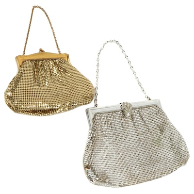 Whiting & Davis Metal Mesh Evening Bags with Chain Link Straps, Vintage