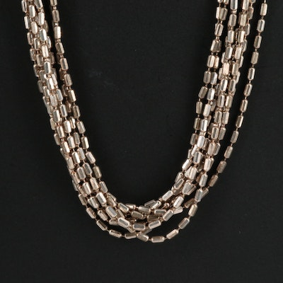 Sterling Multi-Strand Bead Chain Necklace