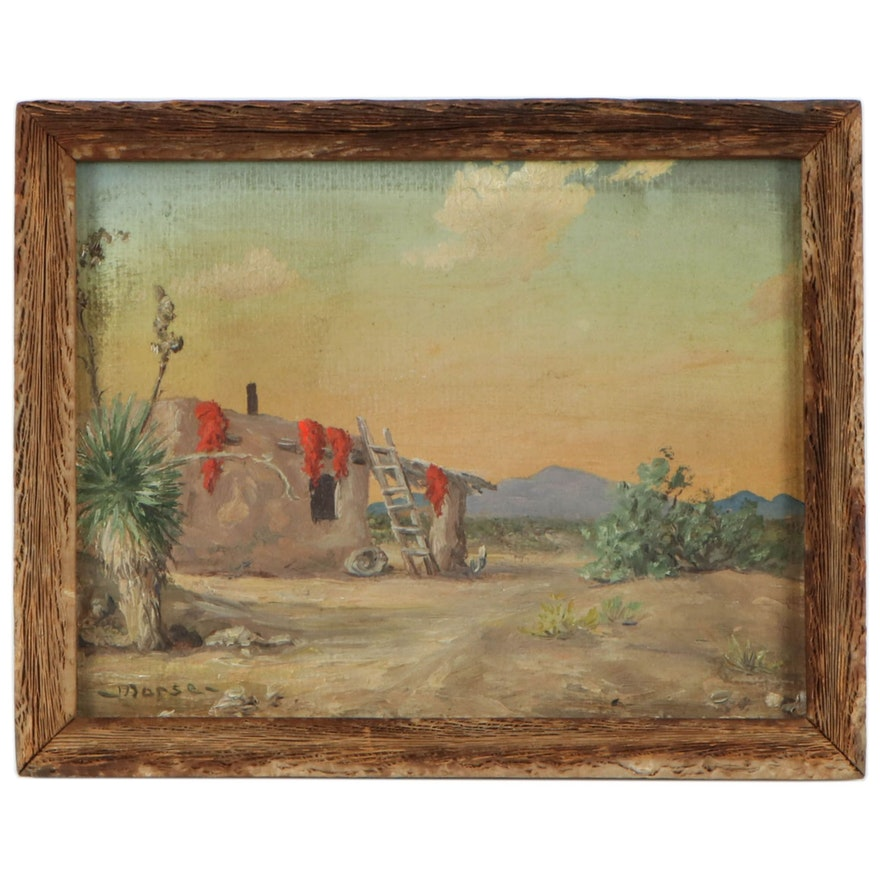 Valentine Morse Oil Painting Southwestern Landscape, Early to Mid 20th Century