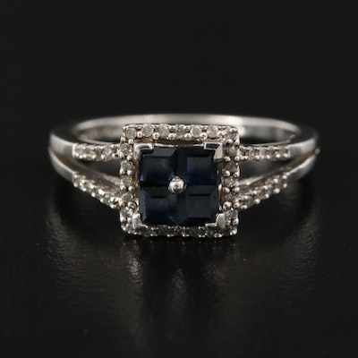 Sterling Silver Sapphire and Diamond Halo Ring