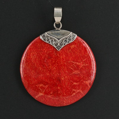 Coral Pendant with Sterling Silver Bail