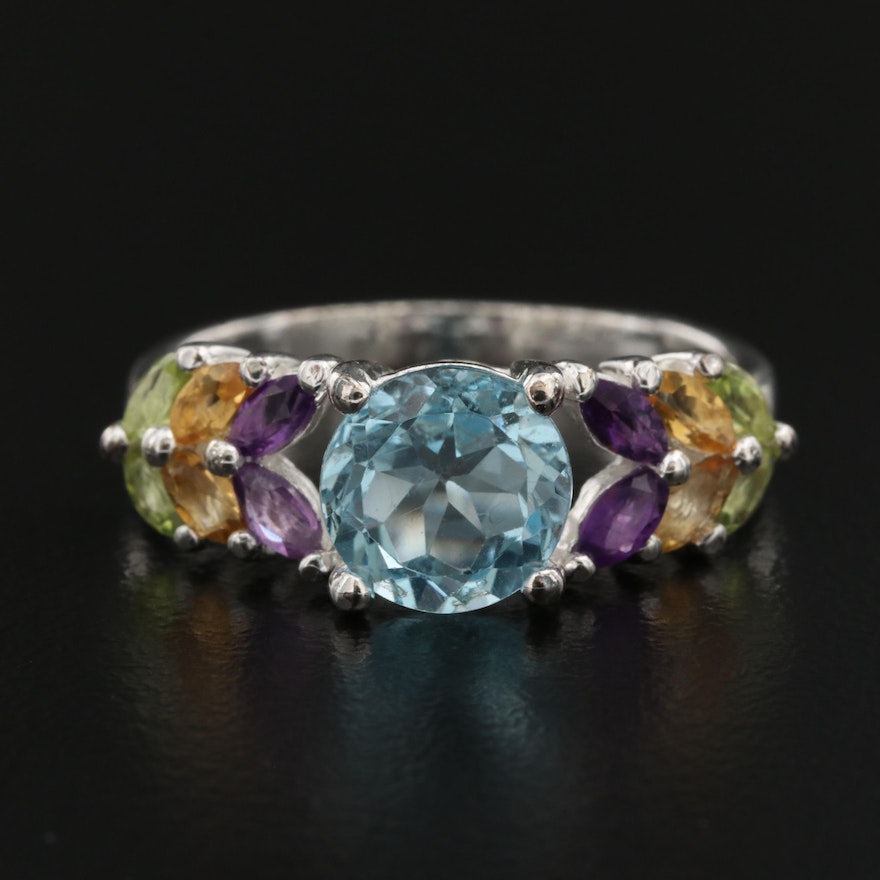 Sterling Silver Topaz, Amethyst and Peridot Ring