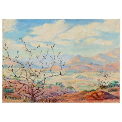 "M. Warnock Oil Painting ""Swisshelm Mountains"", 1944"