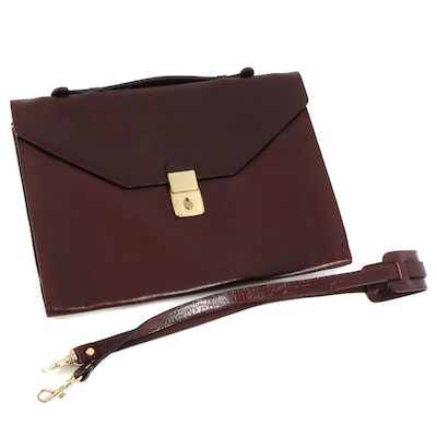 Mahogany Brown Grained Leather Briefcase with Detachable Shoulder Strap