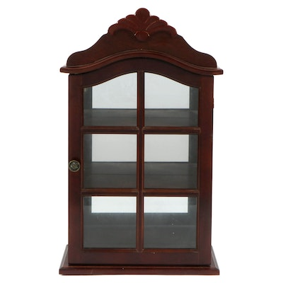 Wood Mirror Back Hanging Display Cabinet