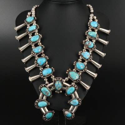 Southwestern Sterling Silver Turquoise Squash Blossom Necklace