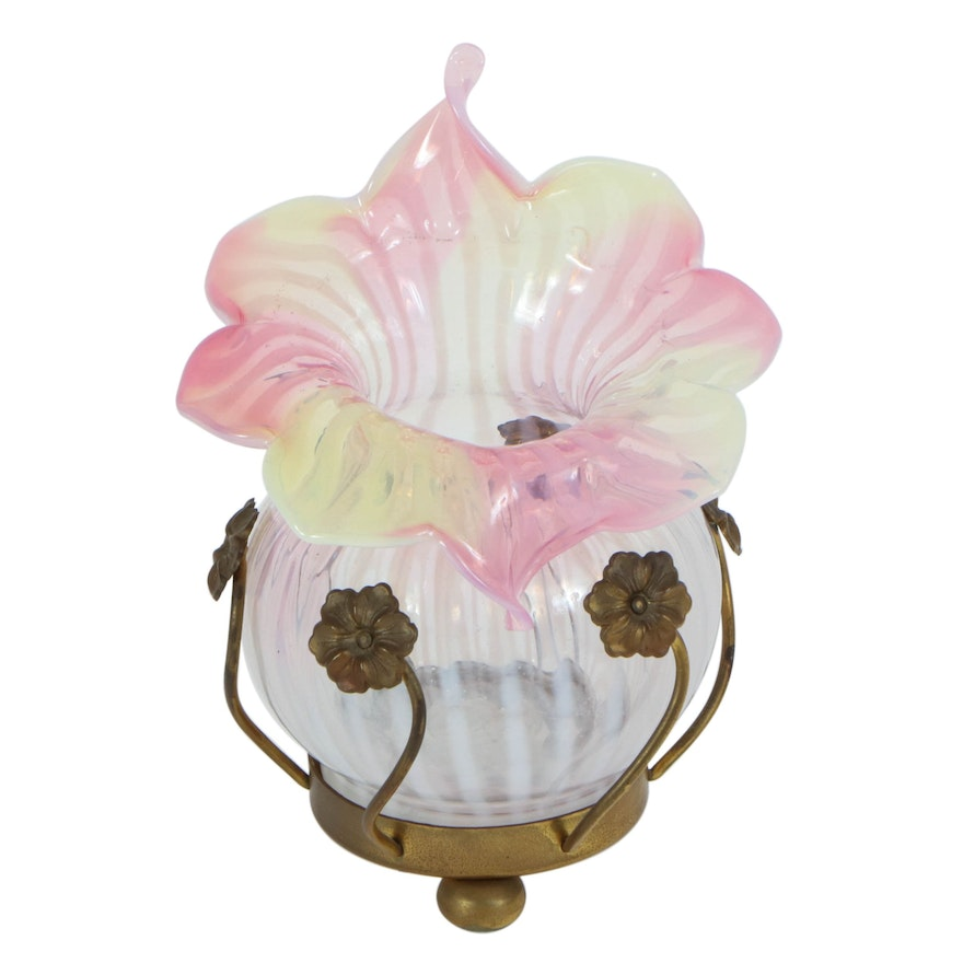 Victorian Opaline Glass Jack-In-The-Pulpit Vase on Brass Stand