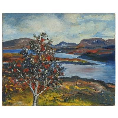 Modern Hudson River Landscape Oil Painting