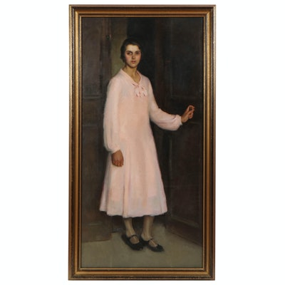 "Richard B. Coe Oil Painting ""Portrait of Girl in Pink Dress"", Mid-20th Century"