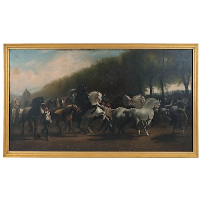 "Oil Painting after Rosa Bonheur ""The Horse Fair"", Late 19th Century"