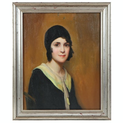 Richard B. Coe Oil Portrait of Girl in Black Hat