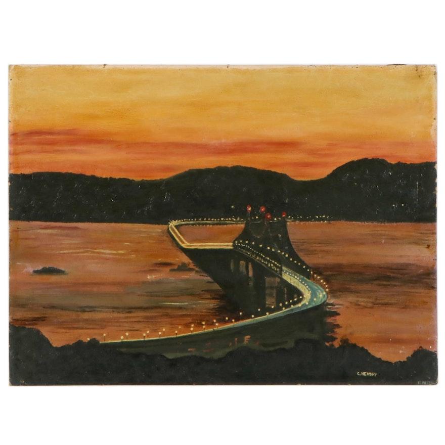 Christine Hendry Oil Painting of Hudson River Bridge at Sunset, Mid-20th Century
