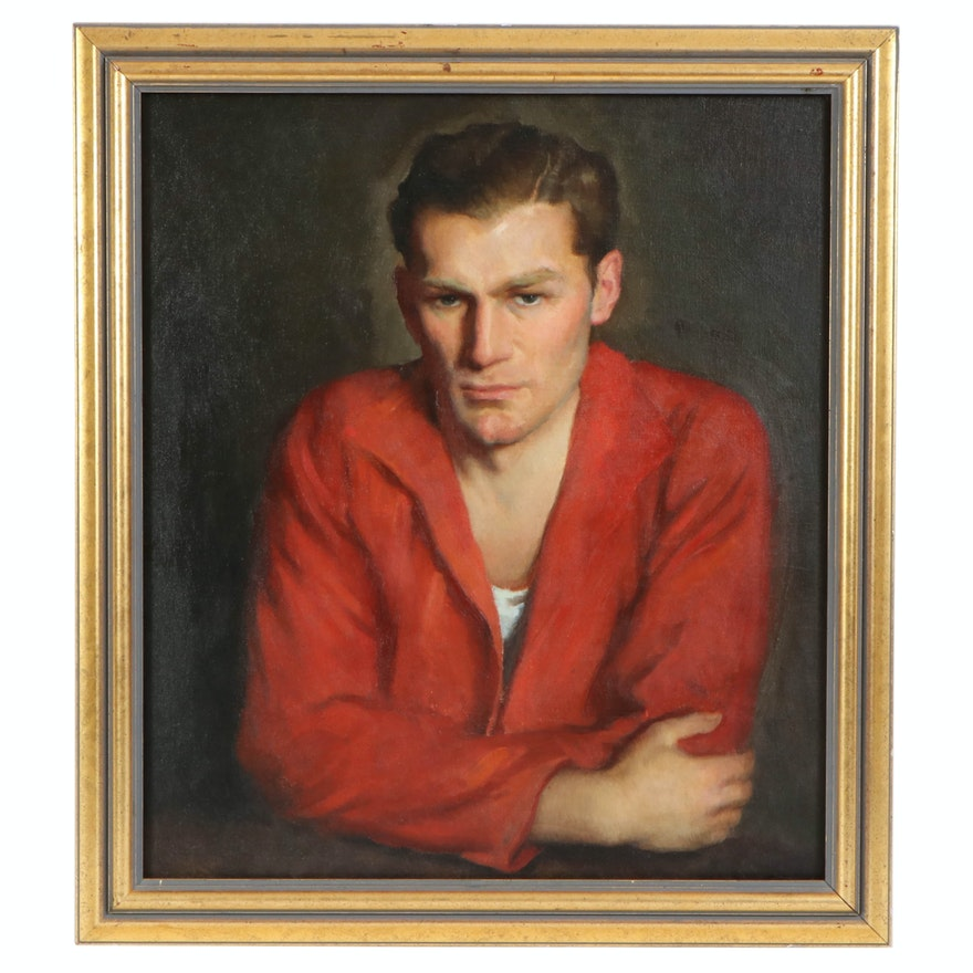 Richard B. Coe Oil Portrait of Man in Red Jacket
