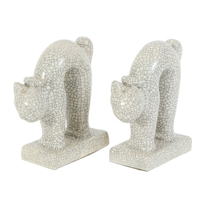 Pair of Japanese Crackle Glaze Ceramic Cat Bookends