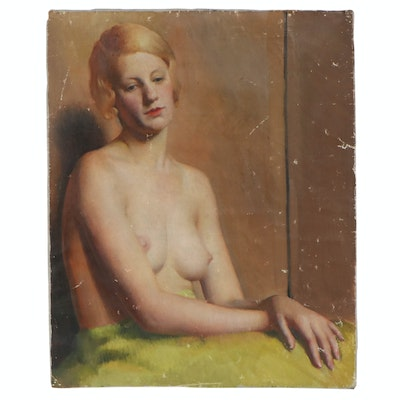 Richard B. Coe Oil Painting of Seated Female Nude, Mid-20th Century