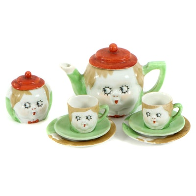 Hand-Painted Miniature Toy Tea Set, Reproduction