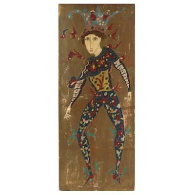 Folk Art Jester Acrylic Painting, Mid-20th Century