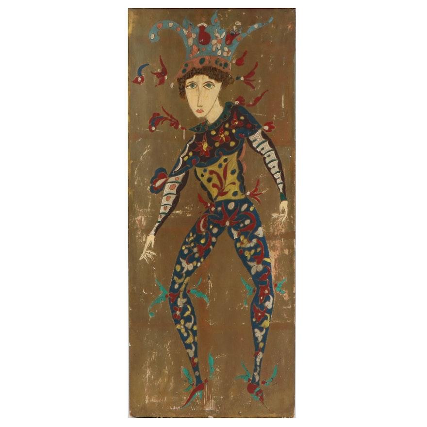 Folk Art Jester Acrylic Painting, Mid-20th Century