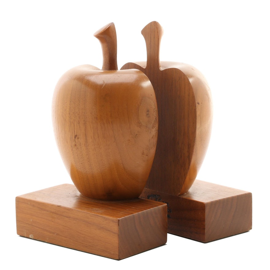 Hand Crafted Walnut Apple Halves Bookends