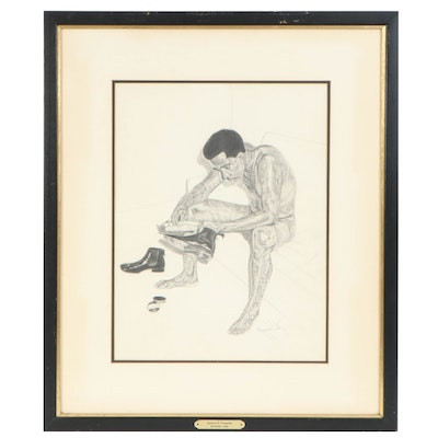 """Raymond Lark Graphite Drawing """"Getting It Together"""", Late 20th Century"""